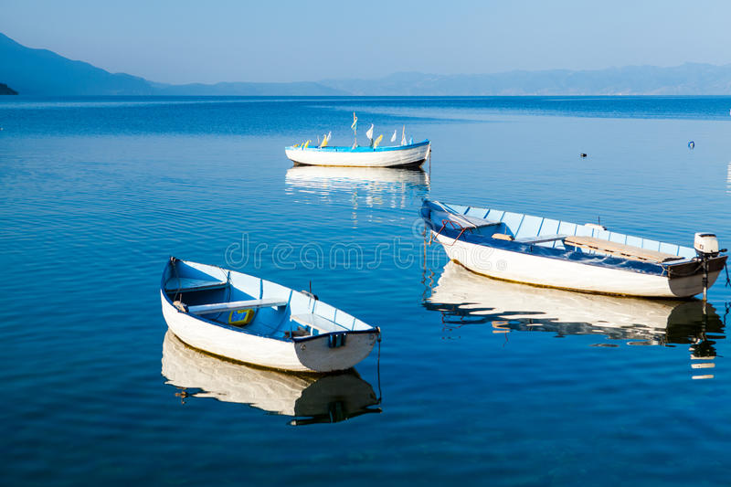 Boats on Lake Ohrid royalty free stock photography