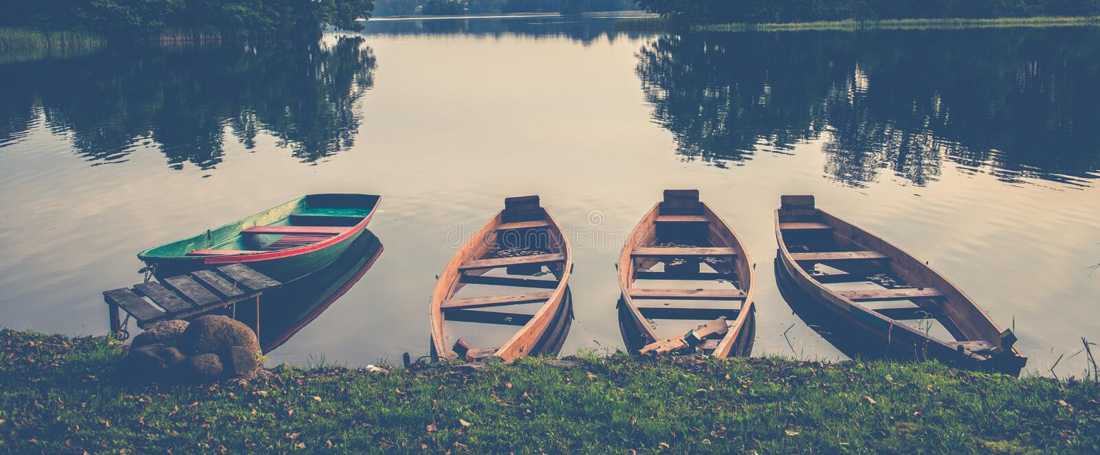 Boats In A Lake Stock Photo