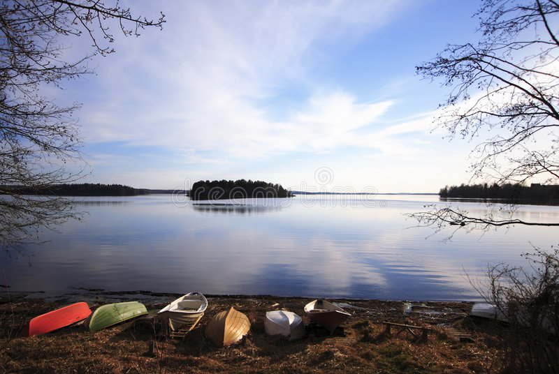 Boats in lake shore, Tampere, Finland royalty free stock photo