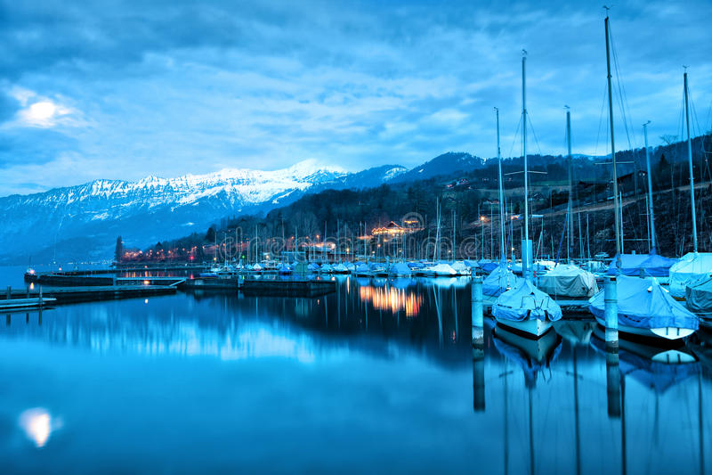 Download Boats on Lake Thun. stock photo. Image of reflection - 20951204