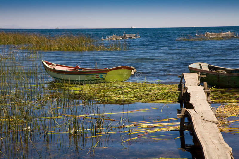 Boats on Lake Titicaca stock photos
