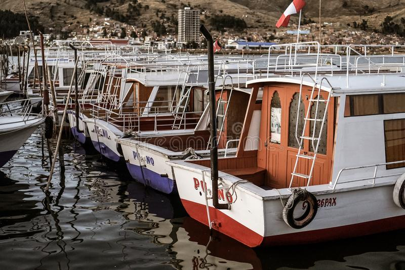 Boats on Lake Titikaka. In Puno, Peru South America During Travels stock photo