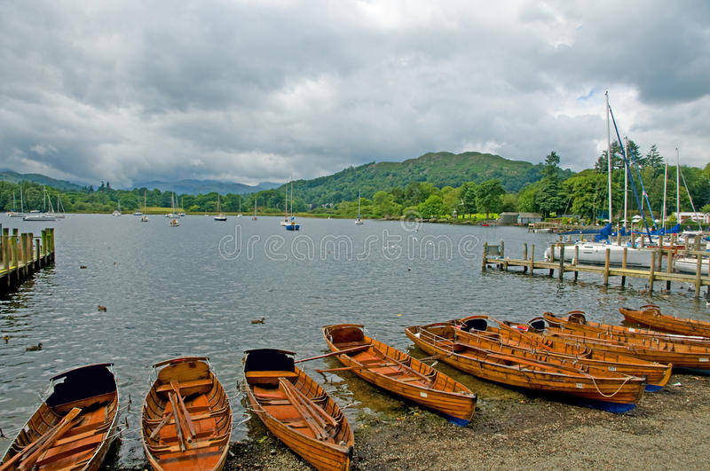 Boats and lake windermere stock photography