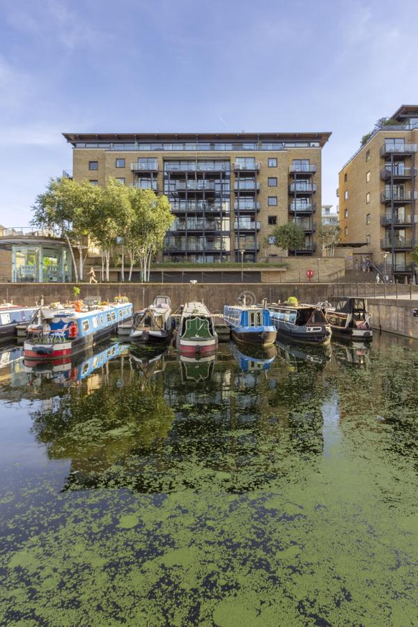 Boats at Limehouse Basin Marina, near Canary wharf riverside, London stock photo