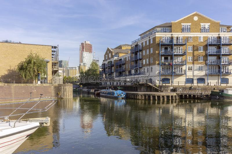 Boats at Limehouse Basin Marina, near Canary wharf riverside, London stock photos