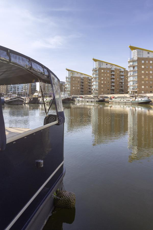 Boats at Limehouse Basin Marina, near Canary wharf riverside, London stock photography