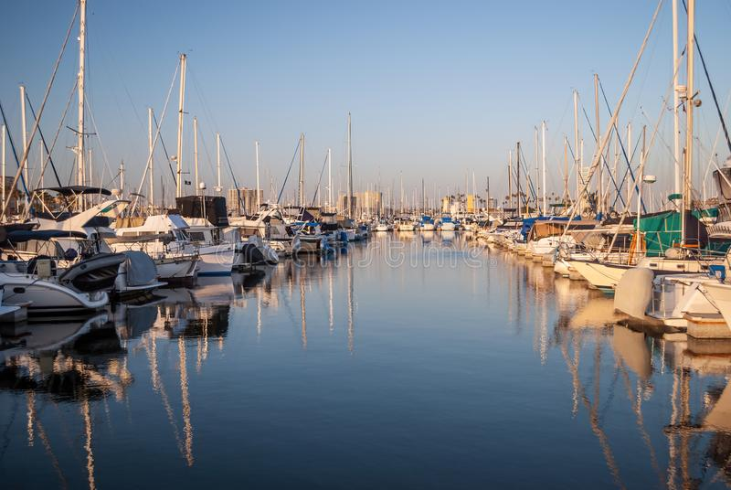 Long Beach Marina. Boats in the Long Beach Harbor Marina on a beautiful Summer day in California stock photography