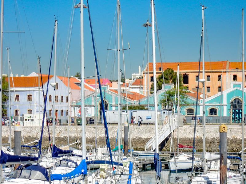 Boats in the marina of Belem, Lisbon stock images