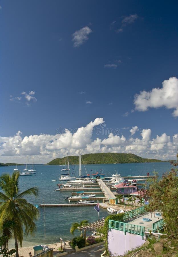 Boats in marina in Caribbean stock photos