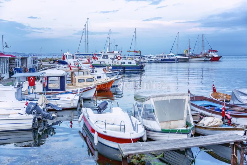 Boats in the marina in the evening. Beautiful landscape at dusk royalty free stock image
