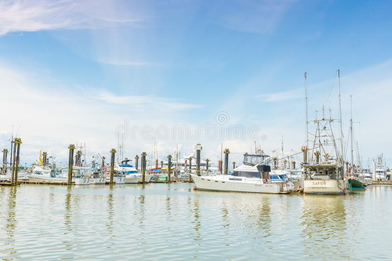 Boats at the marina by Fisherman`s Wharf in Steveston, BC, Canada royalty free stock photo