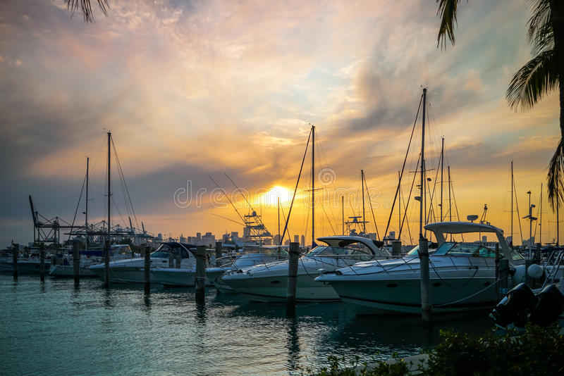 Boats in Marina at Sunset. Boats in Marina under a beautiful sunset stock image