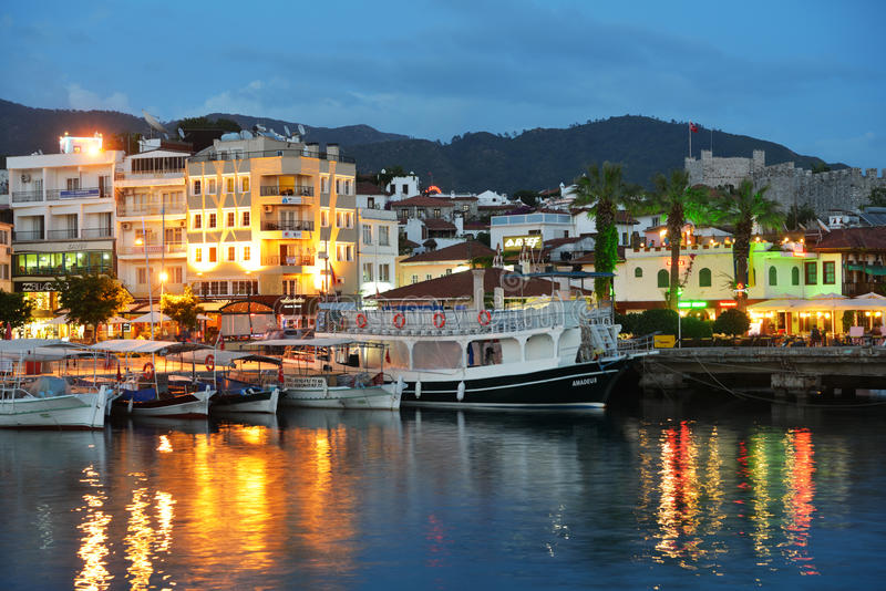 Boats in Marmaris, Turkey in the night royalty free stock photo