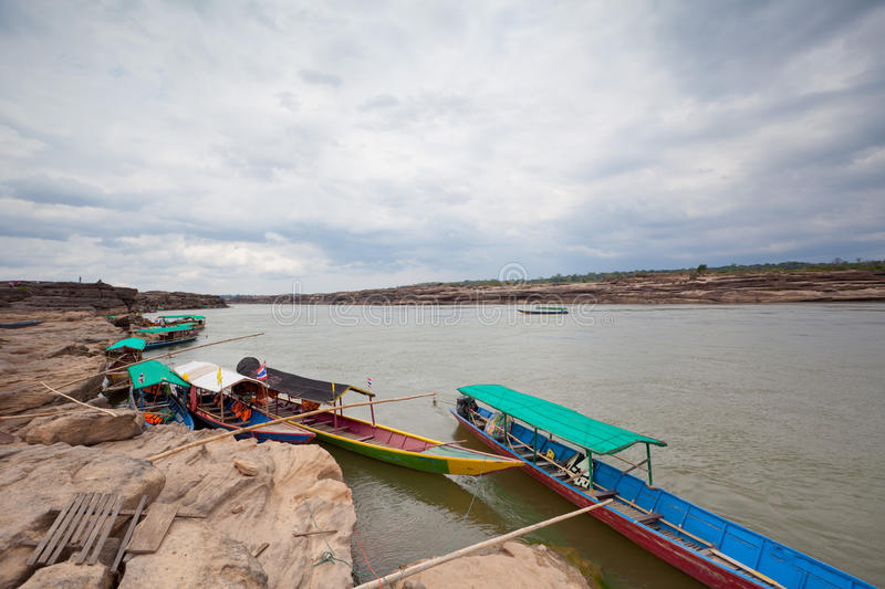 Download Boats in Mekong river stock image. Image of ancient, cavern - 24889313