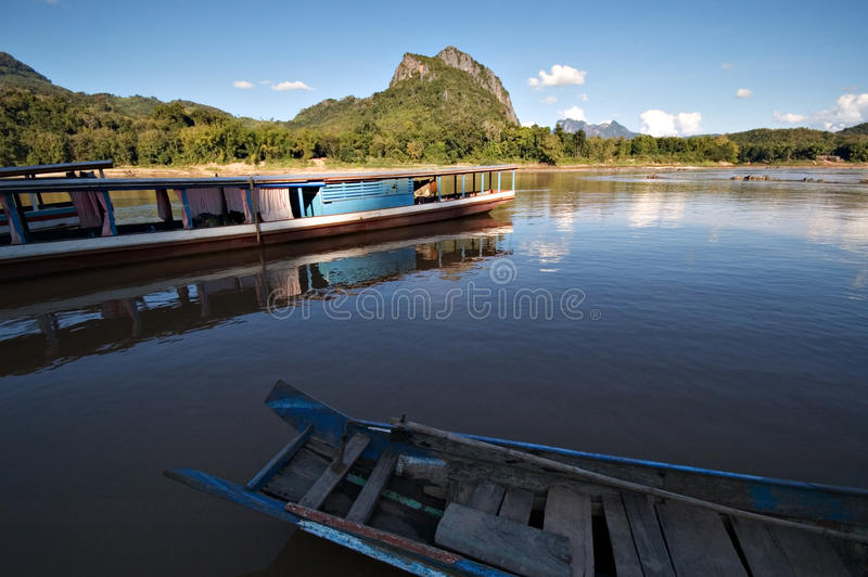 Boats On The Mekong River In Laos Royalty Free Stock Image