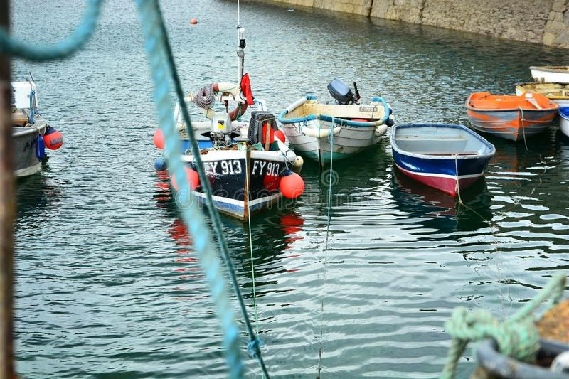 Boats at Mevagissey harbour royalty free stock photography