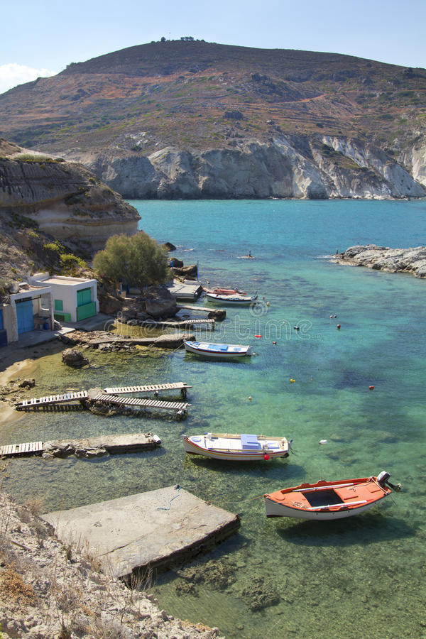 Boats at Milos island, Greece royalty free stock images