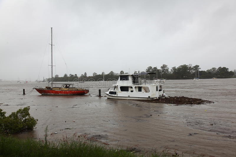 Boats moored in Brisbane River during flooding. Boats moored in Brisbane River on the 11th of January 2011, Queensland, Australia. Many were torn away and royalty free stock photos