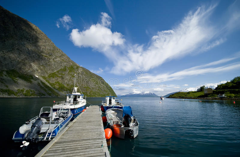 Boats Moored In Fjord Royalty Free Stock Photography