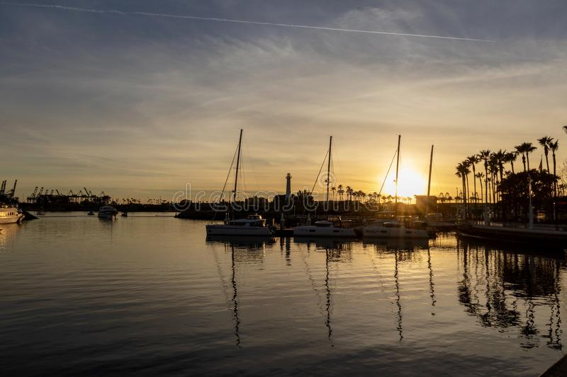 Boats moored in Long Beach Harbor royalty free stock image