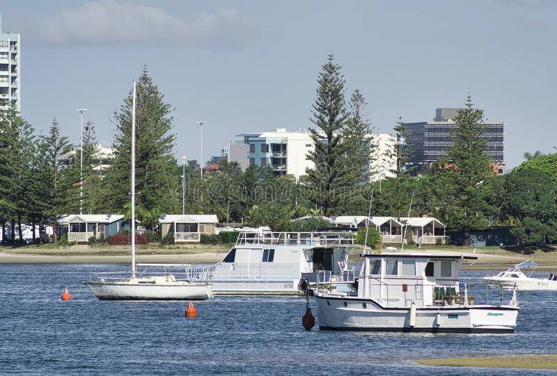 Boats moored at low tide in the Gold Coast Broadwater stock photography