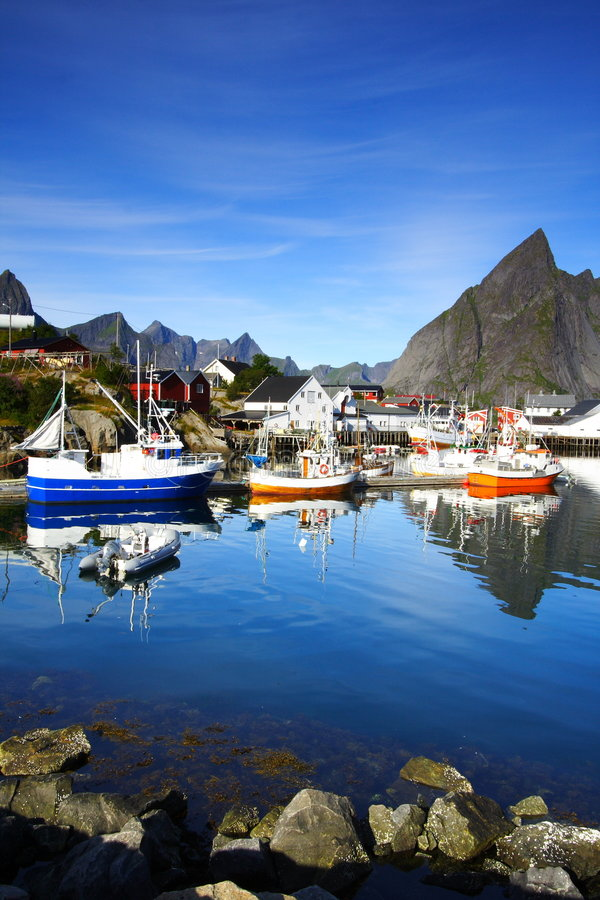 Boats moored in a port stock image