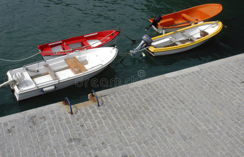 Download Boats moored by quayside stock photo. Image of sport, above - 3297088