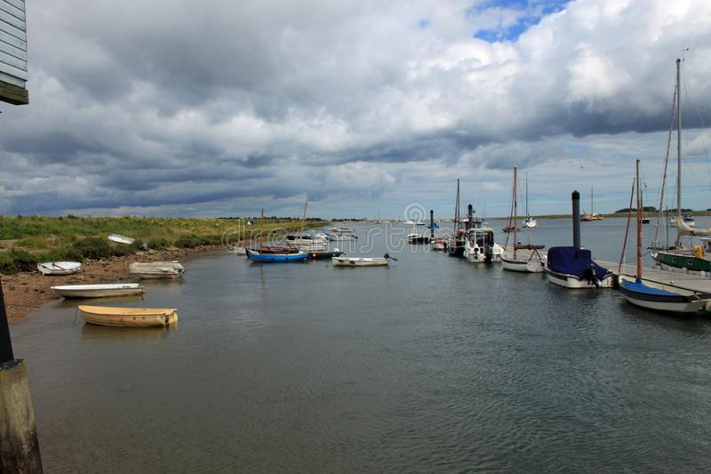 Boats moored at Wells next the Sea royalty free stock image