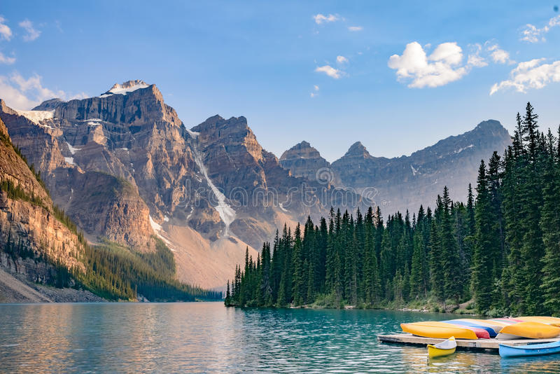 Boats in Moraine Lake near Lake Louise - Banff National Park - Canada. Moraine Lake in the Valley of the Ten Peaks - 14 Km from Lake Louise - Banff National Park stock photos