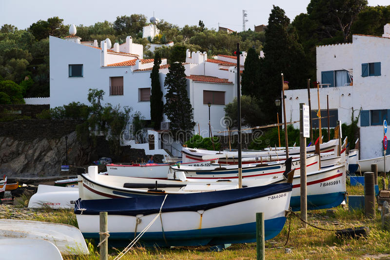 Boats near home of Dali at Port Lligat. CADAQUES, SPAIN - MAY 14, 2015: Boats near home of Dali at Port Lligat. Cadaques, Catalonia stock image