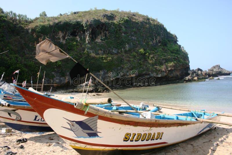 Boats. Ngrenehan beautiful beach located in wonosari, Yogyakarta, Indonesia stock photo