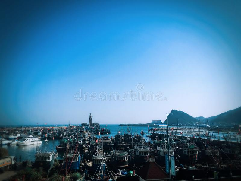 Crowded boats near the harbour in Dalian city royalty free stock images