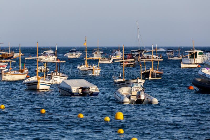 Boats in the ocean en Tamariu (small village in Costa Brava, Cat royalty free stock photo