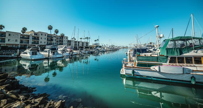 Boats in Oceanside harbor. California, USA stock images