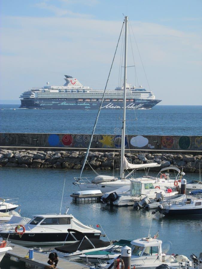 Boats in Oeiras, Portugal royalty-vrije stock afbeeldingen