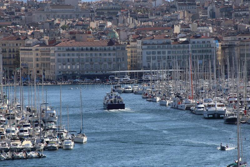 Boats in the Old harbor of Marseille, France royalty free stock images