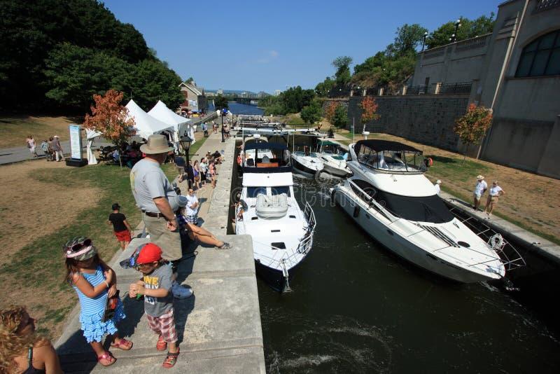 Boats in Ottawa Locks stock photo