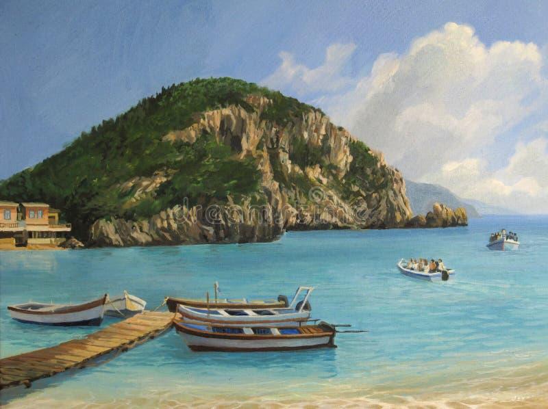 The Boats of Paleokastritsa stock image