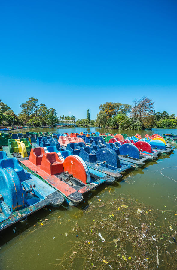 Boats on Palermo Woods in Buenos Aires, Argentina. royalty free stock photos