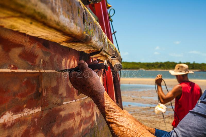 Boats parked on the beach royalty free stock images