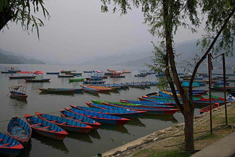 Boats on Phewa Lake D royalty free stock images
