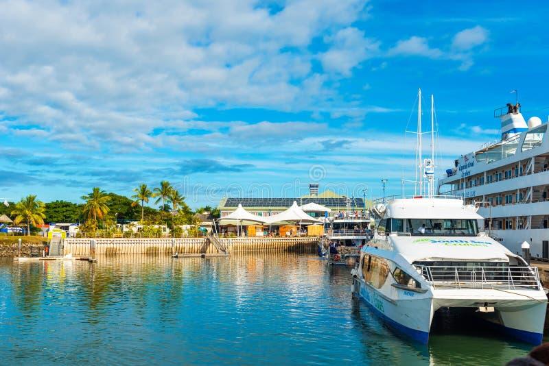 Boats in the port of Denarau, Nadi - Fiji. Copy space for text.  stock image
