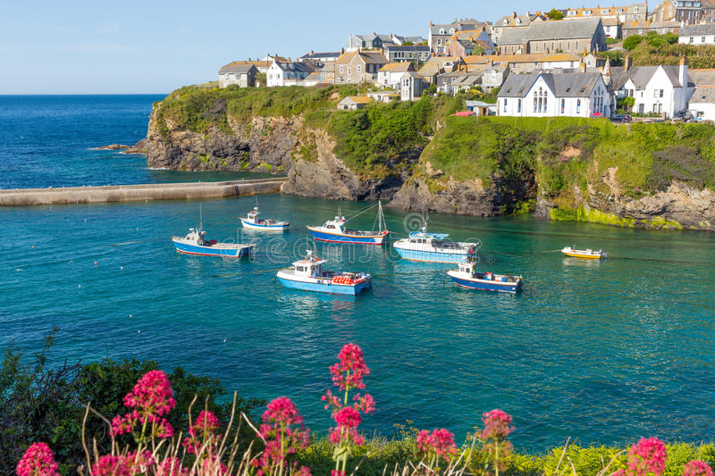 Boats in Port Isaac harbour Cornwall England UK