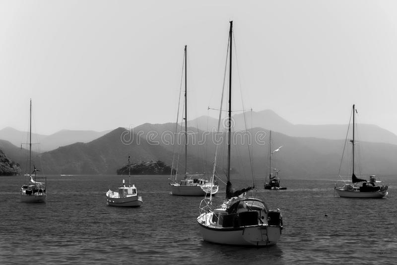 Boats in port, ocean, mountains. Boats, ocean, mountains, black and white seascape, New Zealand royalty free stock photos