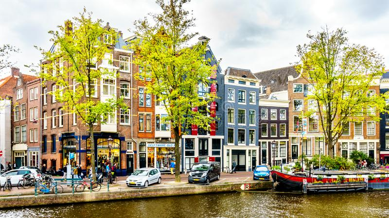 Boats on the Prinsengracht in the old center of Amsterdam, the Netherlands. Boats on the Prinsengracht at the Bloemstraat in the Jordaan district in the old royalty free stock photo