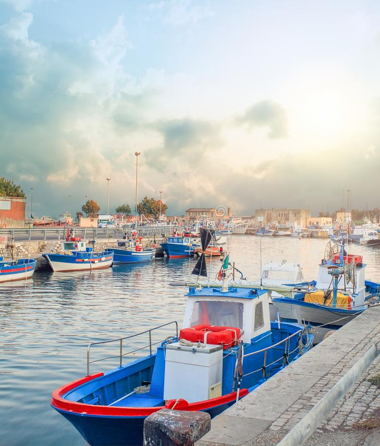 Boats ready for fishing on the sea stock image