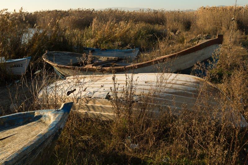 Boats among the reeds. Boats moored among the reeds of Lake Iznik, Iznik, Turkey stock images