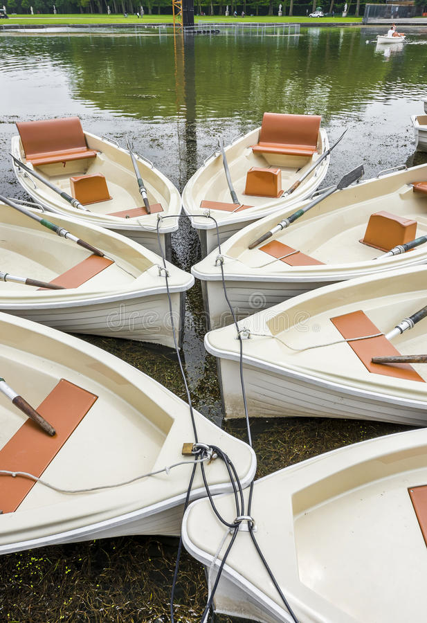 Boats on rent. At the park pond royalty free stock image