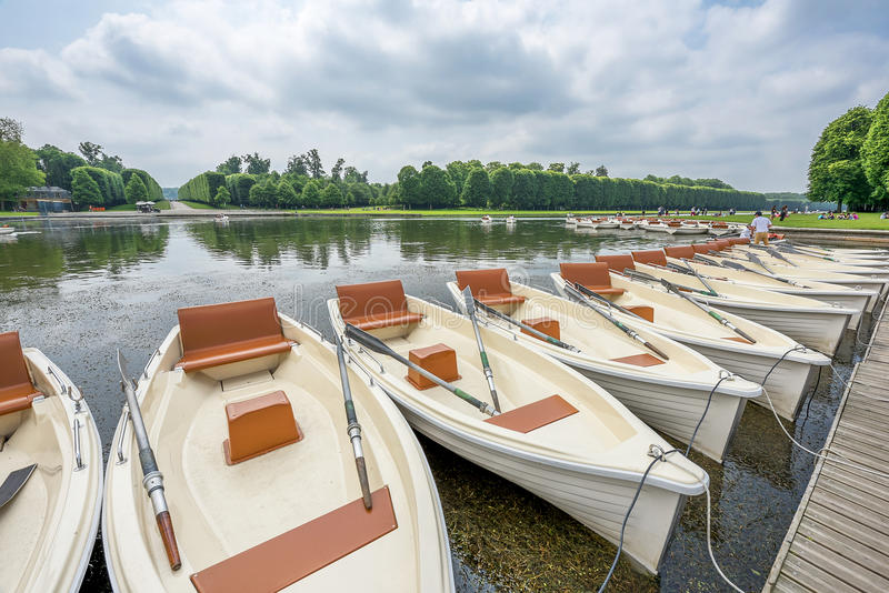 Boats on rent. In the park of Versailles palace. France stock photo