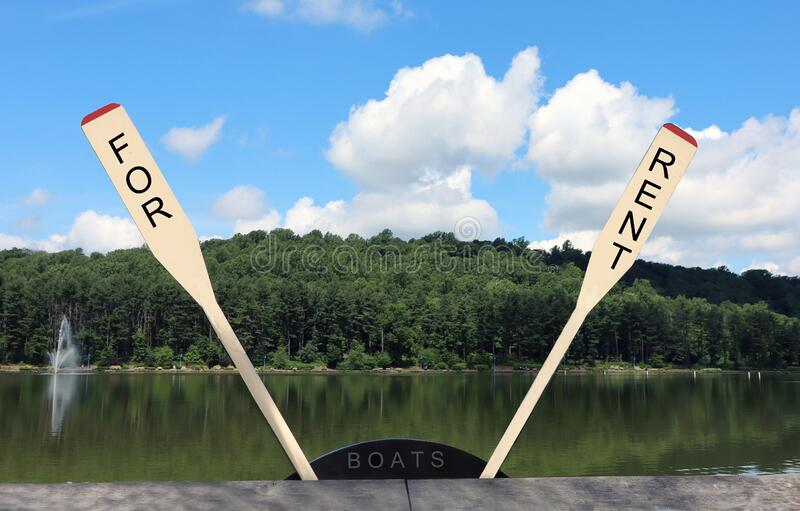 Boats For Rent Sign On Paddles. royalty free stock photos